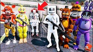 ANIMATRONICS & MARSHMELLO PUT PENNYWISE CLOWN IT IN JAIL! (GTA 5 Mods FNAF Kids RedHatter)