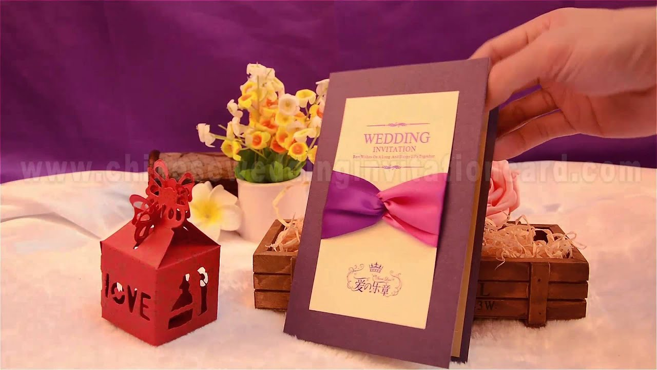 Romantic folding design purple wedding invitation card with ribbon ...