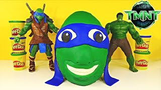 Giant TMNT Surprise Egg Play Doh LEONARDO Teenage Mutant Ninja Turtles