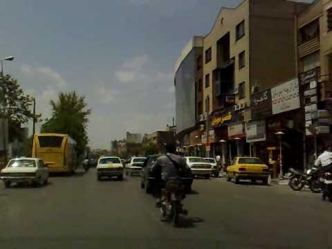Mashhad, Iran streets from inside a cab + radio Mashhad --Ahmadeabaad to Pastor St.