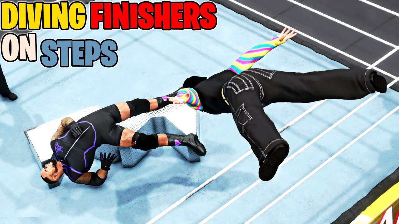 WWE 2K20 Diving Finishers On Steel Steps! Top 10
