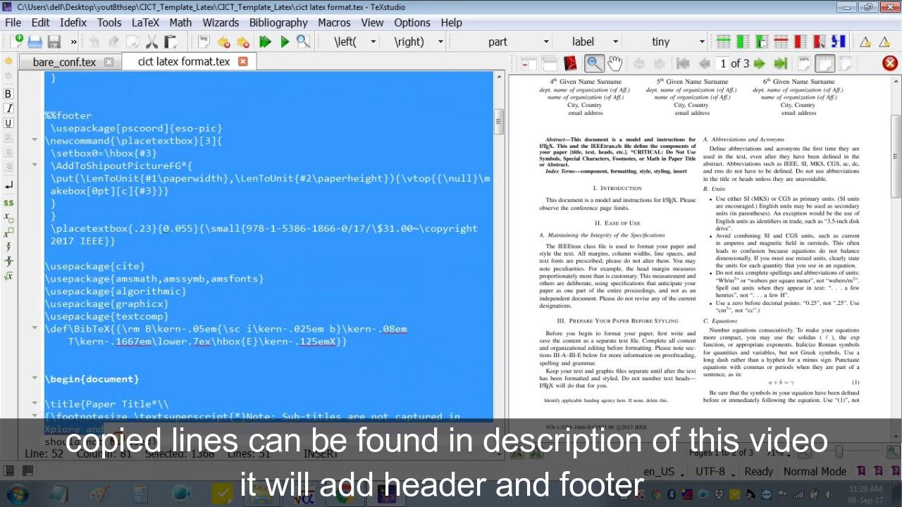 Insert Header Footer in LaTex for IEEE Camera Ready Manuscript