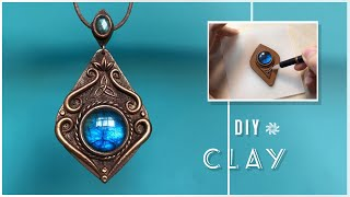 HANDMADE Tutorial:How to Making a Polymer Clay Jewelry Vintage Pendant