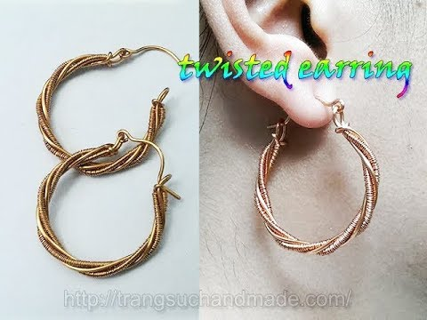 Twisted Earring From Copper Wire Handmade Jewelry Design 344