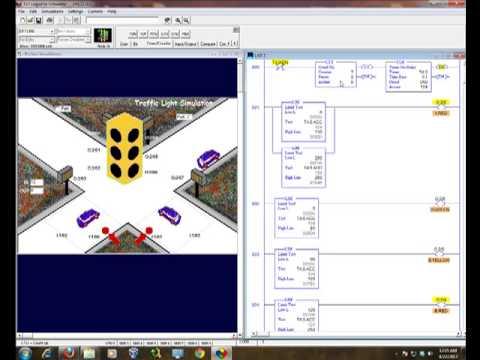 LogixPro Simulation  my Traffic Light (six lights ladder logic diagram solution)  YouTube