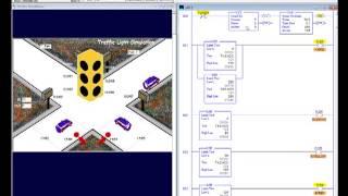 LogixPro Simulation - my Traffic Light (six lights ladder logic diagram solution)