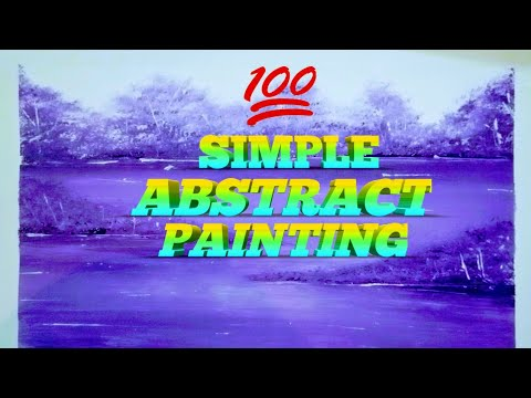 Simple Landscape Painting//Relaxing//Purple// Abstract Painting//Demonstration/