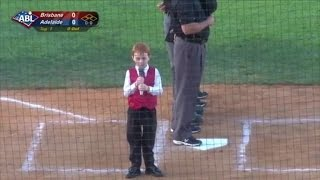 7-Year-Old Boy Adorably Hiccups Through National Anthem