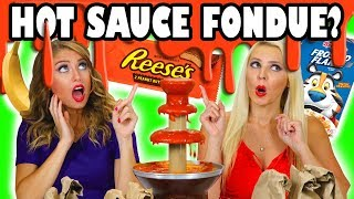 vuclip Hot Sauce Fondue Challenge with Sriracha with Weird Ingredients. Totally TV