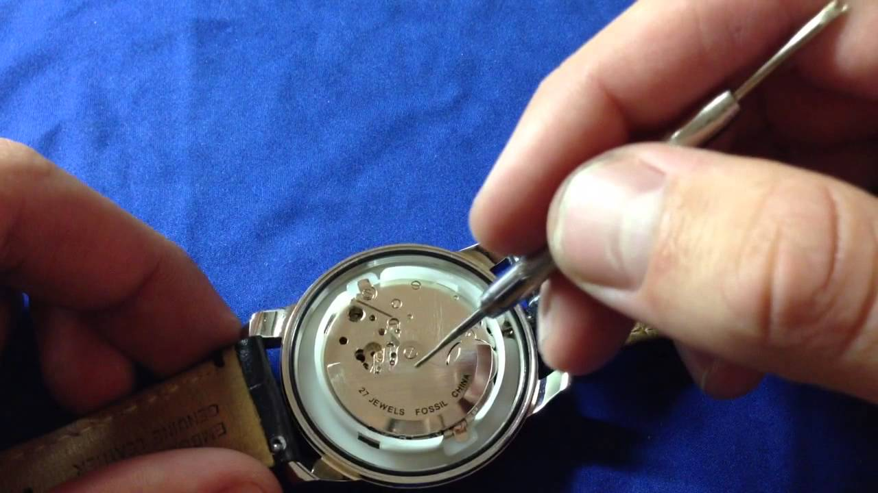the inside of a fossil grant twist watch youtube