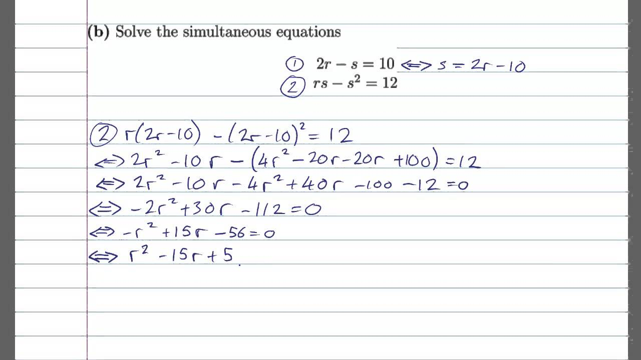 2013(S) Maths OL Paper 1 Question 4 (Algebra) - YouTube