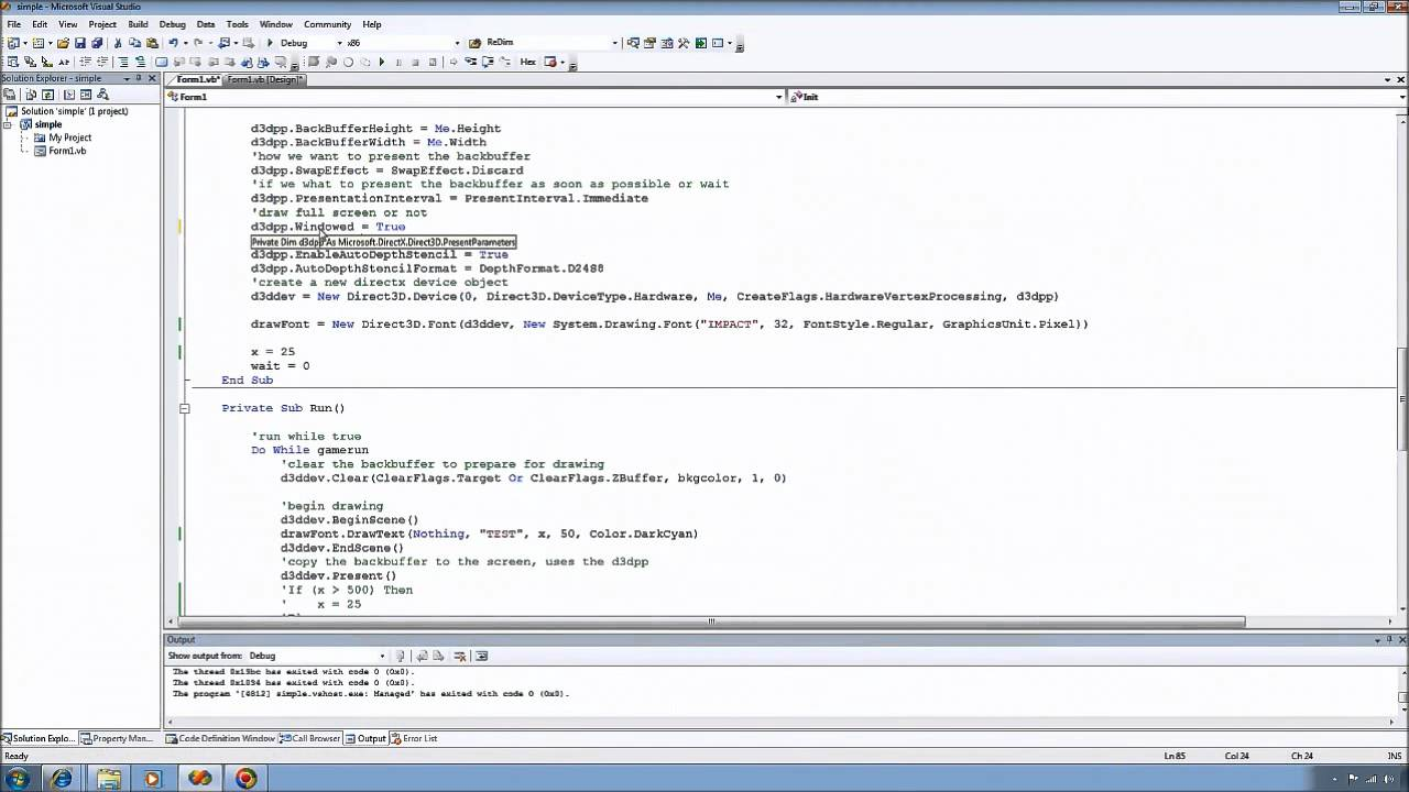 Using Managed DirectX with VB net Tutorial 1