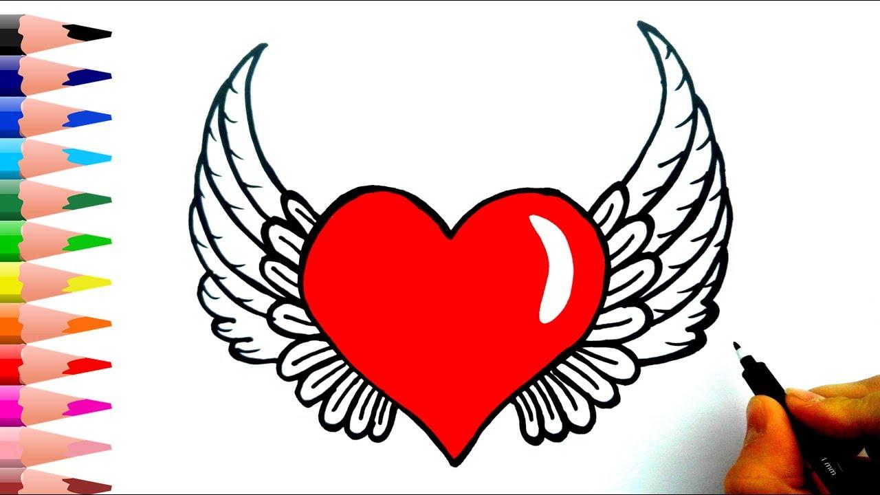 How To Draw A Heart With Wings Kanatli Kalp Nasil Cizilir Youtube