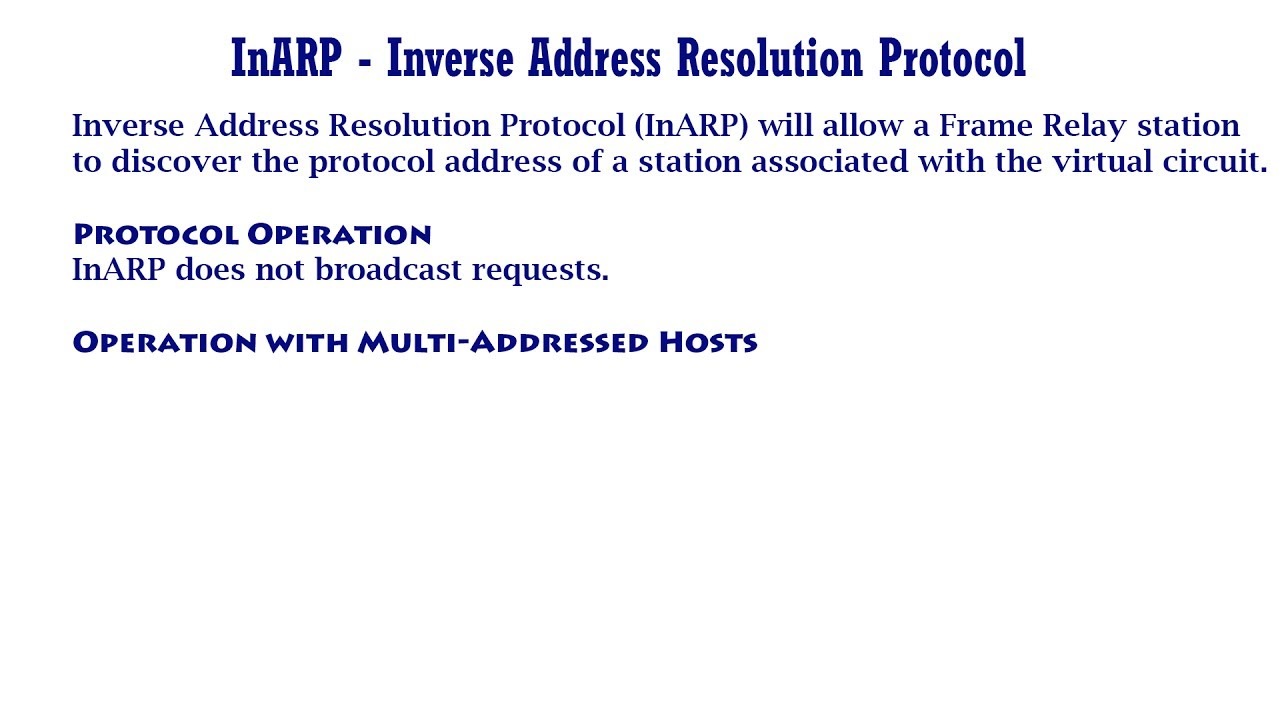 InARP Inverse Address Resolution Protocol YouTube