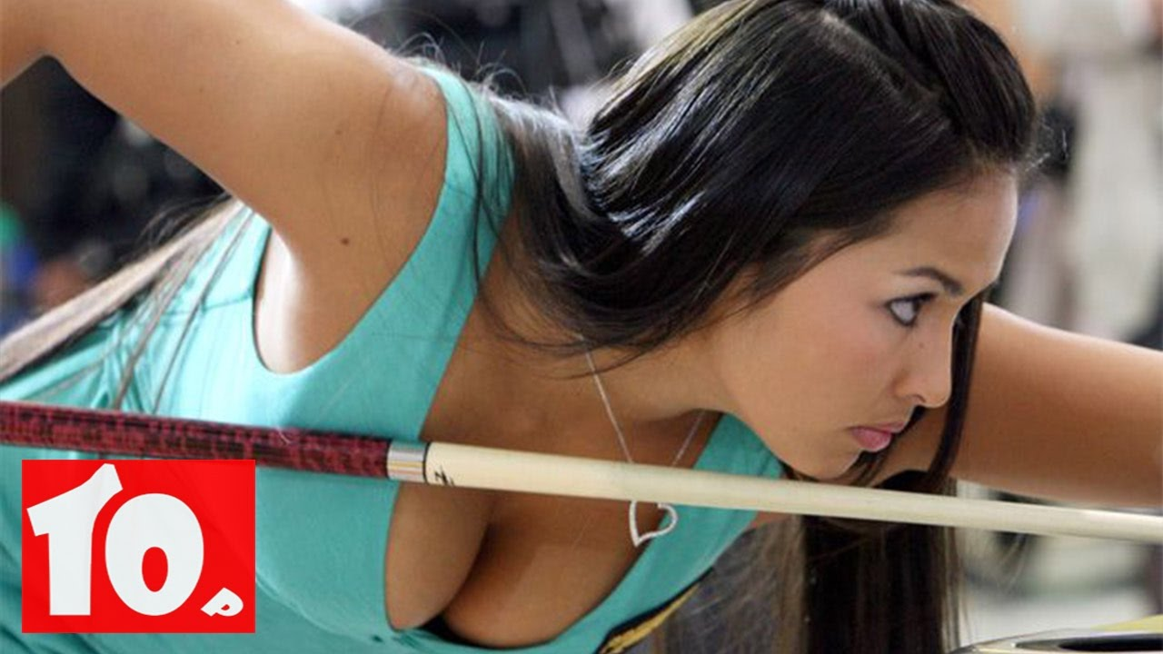 Professional boob pool player