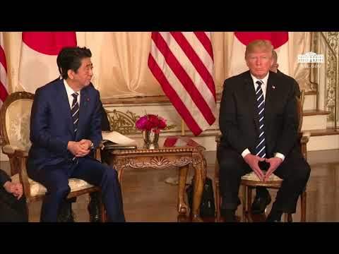 President Trump has a Restricted Bilateral Meeting with the Prime Minister of Japan