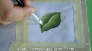 Como Pintar Hojas en Tela Tutorial- Pintura en Tela  Cómo Pintar Facil Como Difuminar Pintura Facil