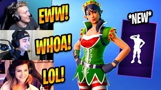 STREAMERS REACT TO NEW CRACKDOWN EMOTE & TINSELTOES ELF SKIN - Fortnite Best & Funny Moments #263