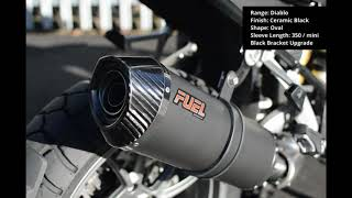 BMW R1250GS / Adventure 2018+ Diablo Ceramic Black Oval Mini Fuel Exhaust with Black Bracket Upgrade