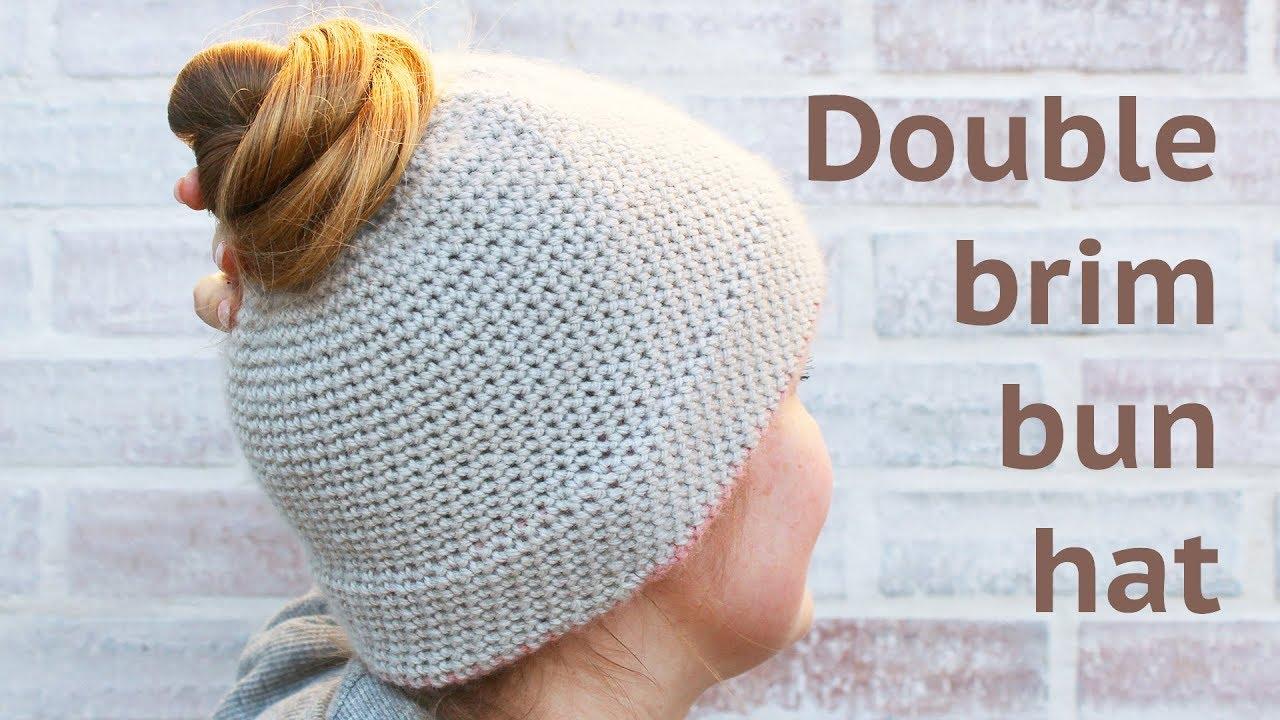 SIMPLE DOUBLE BRIM BUN HAT - FREE CROCHET PATTERN 5c8f520c428