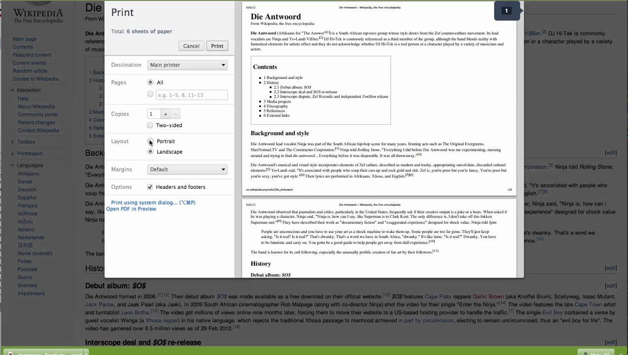 Mac - Chrome print preview -- Layout change