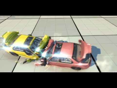 BeamNG Head on Collision between two cars - YouTube
