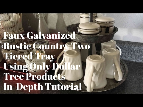 """DIY Dollar Tree """"Galvanized"""" Country Rustic Two Tiered Tray In-Depth Tutorial February 21, 2017"""