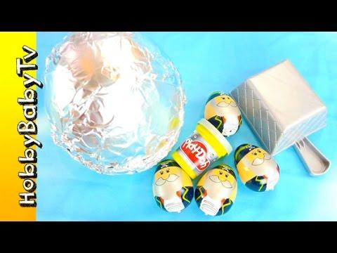 Hero + PlayDoh Surprise Eggs! Cars, Learn Color SILVER Lesson 9 HobbyBabyTV
