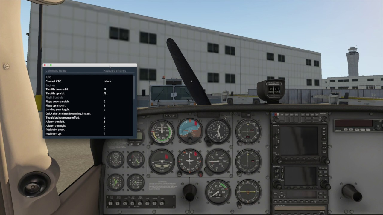 X-Plane 11 keyboard shortcuts & ground handling windows