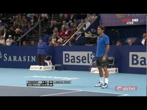Roger Federer got a nutshot by Del Potro's serve - Final ATP Basel Open 2012 [HD]
