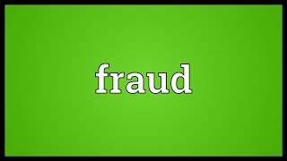 Video shows what fraud means. any act of deception carried out for the purpose unfair, undeserved and/or unlawful gain.. assumption a false identit...