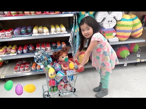 Thumbnail: Kid Shopping for Easter Eggs with Crying Baby at the store, Shimmer & Shine, and Shopkins