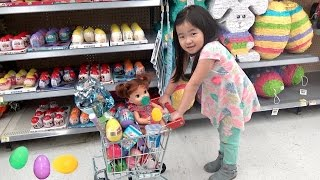 Kid Shopping for Easter Eggs with Crying Baby at the store, Shimmer & Shine, and Shopkins