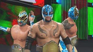 vuclip WWE 2K16 Mods - Super Lucha Dragons - Rey Mysterio, Kalisto & Sin Cara BLUE Camo Attires Mod