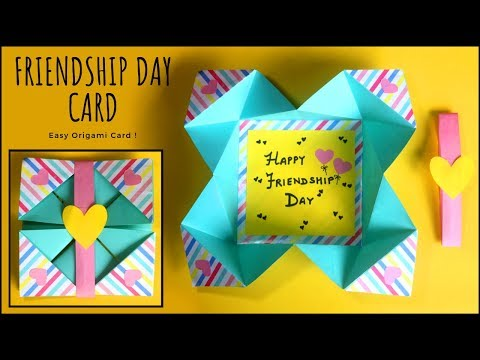 EASY Origami Greeting Card   Friendship Day Card   Handmade Cards