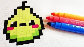 Handmade Pixel Art How To Draw Kawaii Pear Pixelart Youtube