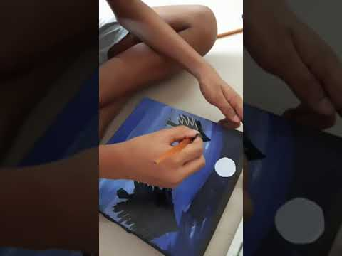 Moonlight Landscape Painting I Cardboard as Canvas |8 yrs old boy painting on cardboard