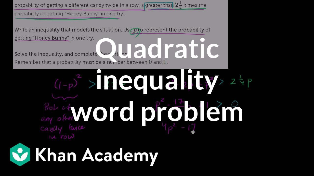Quadratic inequality word problem (video) | Khan Academy
