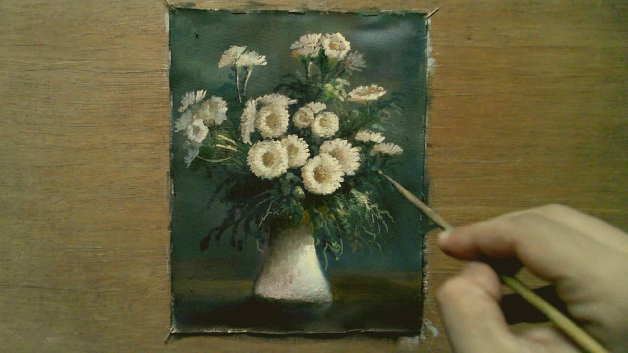 Oil painting white flowers with yasser fayad youtube mightylinksfo