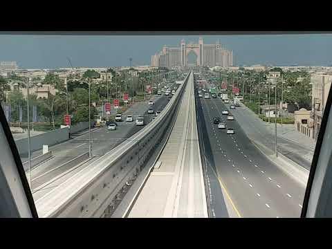 Dubai Atlantis Hotel Palm - travel via Monorail full route view