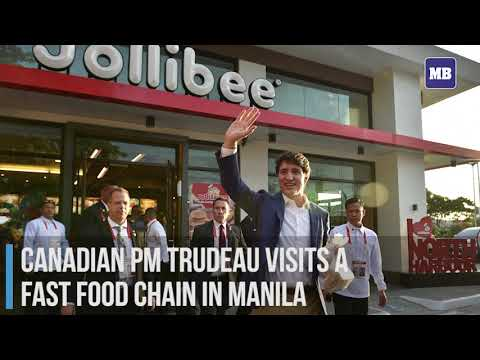 Canadian PM Tredeau visits a fast food chain in Manila
