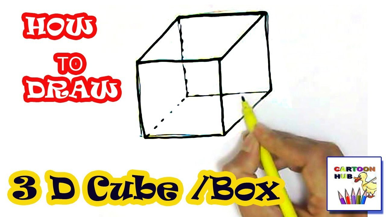 how to draw 3d box or cube in easy steps step by step for children kids beginners [ 1280 x 720 Pixel ]