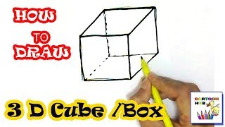 How to draw 3d Box or Cube in easy steps, step by step for children, kids, beginners