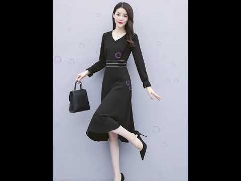 [해외직구] 2019 가을 신상 여성 쉬폰 원피스 허리수트 날씬해 보이는 블랙 긴팔 유행 초가을 스커트