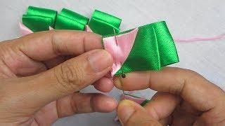 Hand Embroidery, Ribbon Work, Amazing ribbon flower making trick