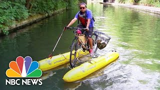 One Man's Pedal-Powered Mission To Tackle Plastic Pollution   NBC News