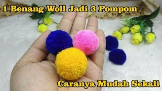 5) cara membuat pom pom dari benang wol || diy pom pom rug bedroom decor tutorial