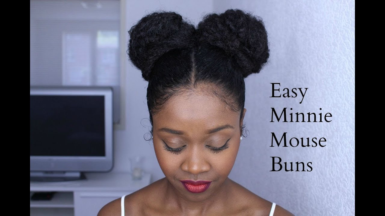 Easy Minnie Mouse Buns On Natural Hair Protective