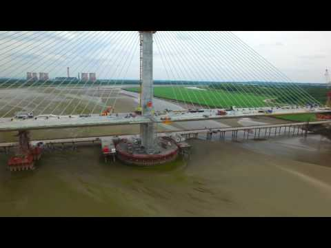 Mersey gateway project, dismantling of the form traveller on centre pylon 14th June 2017