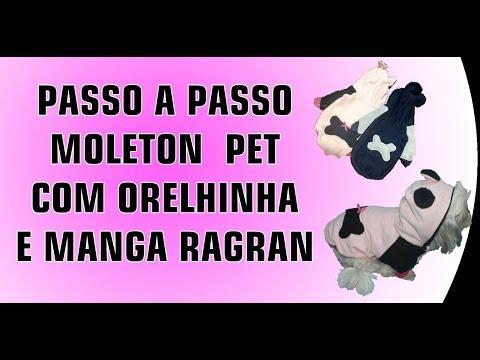 PASSO A PASSO MOLETON PET COM ORELHINHA E MANGA RAGRAN
